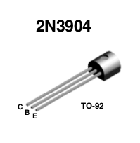 2N3904 NPN Transistor. Note base lead in the middle.