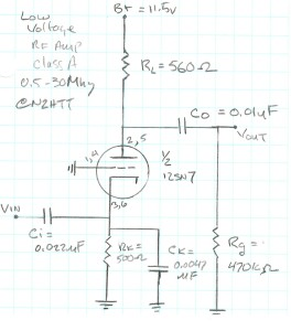 My schematic for the triode grounded grid amplifier.