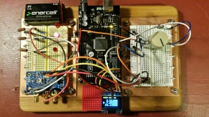 Arduino prototyping board in action.