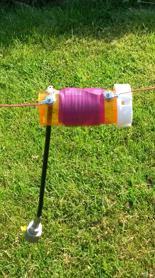 Pill bottle 4:1 balun, wrapped in attractive violet electrical tape