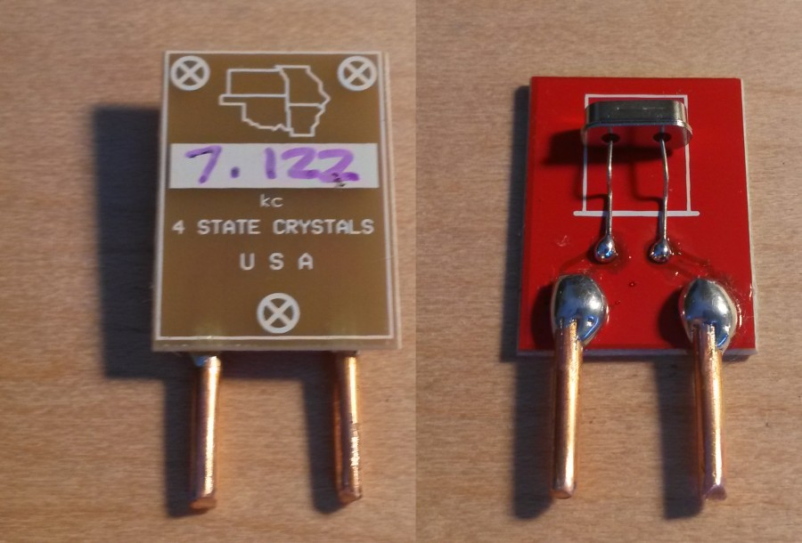 Both sides of HC49 to FT-243 crystal adapter board.