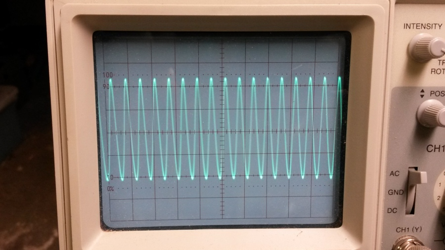 BK Precision 20MHz dual channel oscilloscope, doing its thing